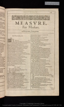 Link to the Cambridge Digital Library digitised copy of Measure for Measure